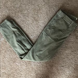 J crew army green chino cropped pants